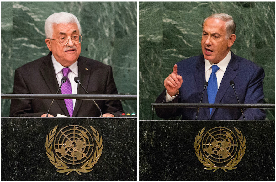 alestinian Authority President Mahmoud Abbas, left, and Israeli Prime Minister Benjamin Netanyahu speaking at the U.N. General Assembly in New York City on Sept. 30, 2015, and Oct. 1, 2015 respectively. (Both Andrew Burton/Getty Images)