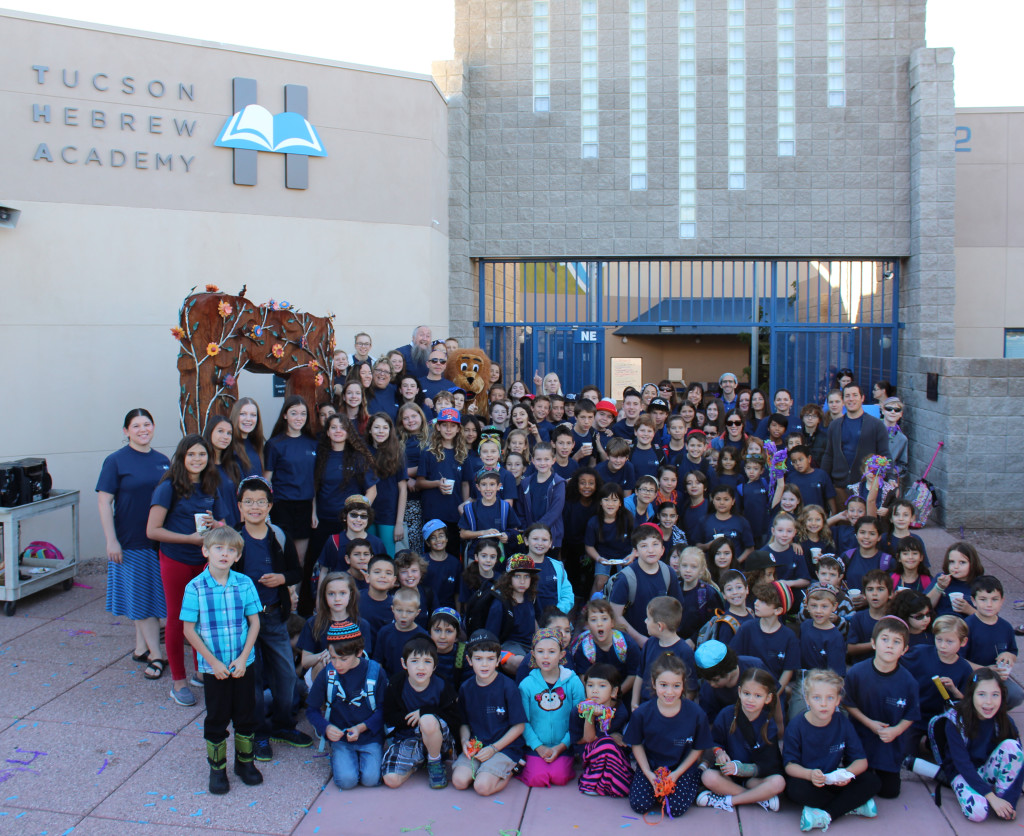 Students, faculty and staff in the forecourt of Tucson Hebrew Academy on Nov. 3 after THA's new sign was revealed.  (Courtesy Tucson Hebrew Academy)