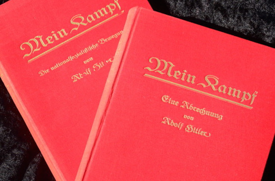 Historic copies of Adolf Hitler's 'Mein Kampf,' which was released in a new, annotated edition in Germany this month. (Frederic J. Brown/AFP/Getty Images)