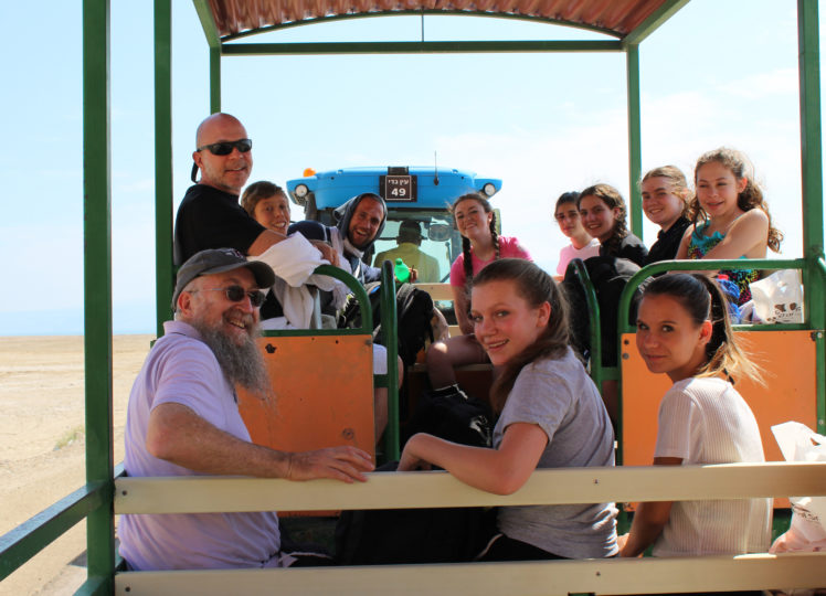 THA trip participants head to the Dead Sea. Front row (L-R): Rabbi Billy Lewkowicz, Lulu Youngerman, Eva Prouty; back: Head of School Jon Ben-Asher, Moshe Rast, guide Yakov Lopez, Katie Kanter, Ana Rosman, Lucila Thal, Janae Newhouse-Waine, Danika Selmon (Courtesey Jon Ben-Asher)