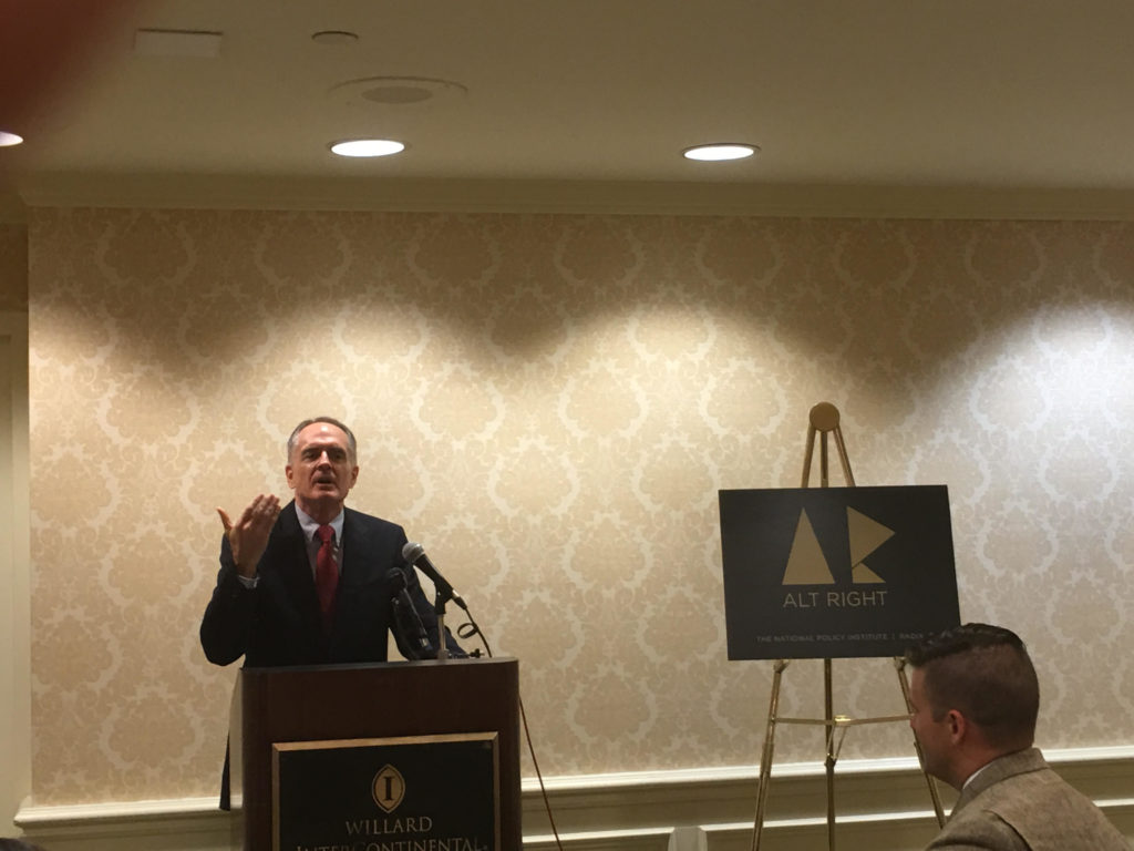 Jared Taylor, the editor of American Renaissance, addressing a news conference on the alt-right in Washington, D.C., while Richard Spencer, who claims to the progenitor of the term, looks on, Sept. 9, 2016. (Ron Kampeas)