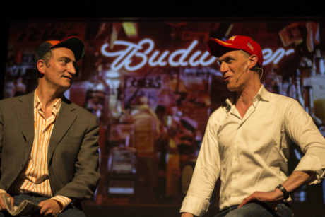 Pep Rosenfeld, left, and Greg Shapiro portray Donald Trump supporters at their comedy club in Amsterdam, May 11, 2016. (Courtesy of Boom Chicago)