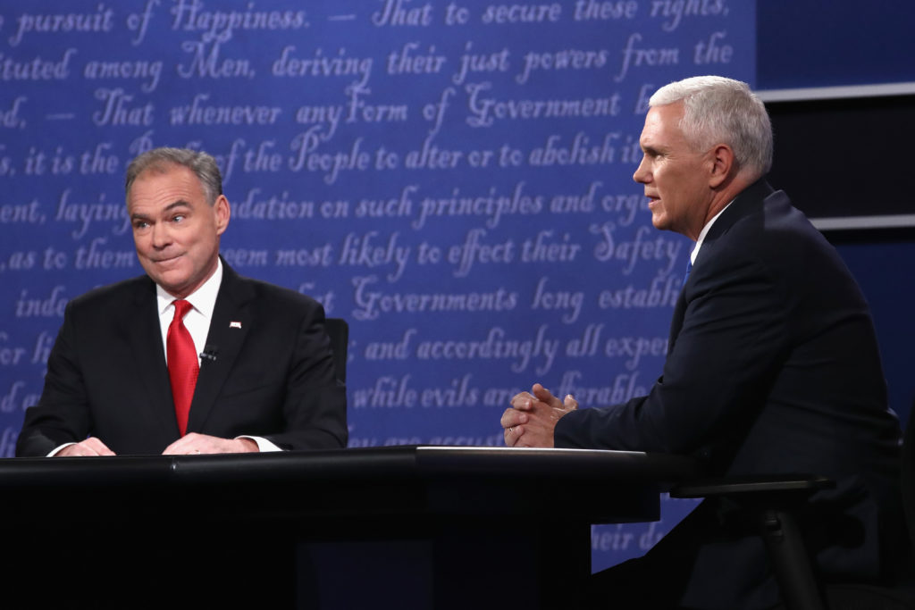 Democrat Tim Kaine, left, and Republican Mike Pence, facing off during the vice presidential debate at Longwood University in Virginia, Oct. 4, 2016.  (Win McNamee/Getty Images)