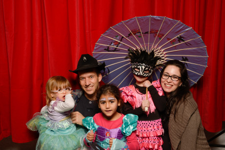 On March 4, the Weintraub Israel Center held a Bechayed BePurim (Together on Purim) party with Chabad on River and the Israel American Council. The event included dinner, a Megillah reading and Israeli music. Enjoying the festivities are Shira Barel (center) with, from left, Tamar, Amit, Ofri and Lee Benjamin.