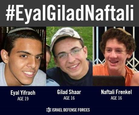 Eyal Ifrach, Gil-ad Shaer and Naftali Fraenkel were kidnapped by terrorists on June 12, 2014. (Flickr)