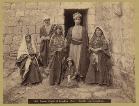 An Arab family of Ramallah, 1900-1910. Most Arabs lived in the hill towns of Palestine, away from the coastal lowlands where Zionist activity would first take root. (Courtesy of Matson Collection, Library of Congress)