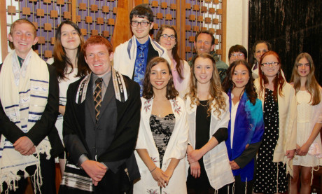 Back row: Michael Gibson, Sarah Jones, Joshua Arden, Kacie Bauer, Rabbi Samuel M. Cohon, Rabbi Batsheva Appel, Cantorial Soloist Marjorie Hochberg. Front row: Gabriel Cohon, Isabella Brody, Dalya Parker, Meghan Ramirez, Athena Focazio-Moran, Rebecca Bauer (Joe Steiner)