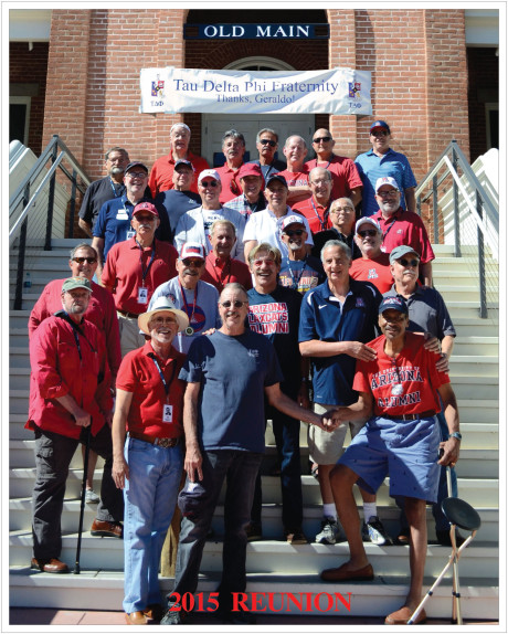 Geraldo Rivera (second row center) with his Tau Delta Phi brothers at the University of Arizona's Old Main
