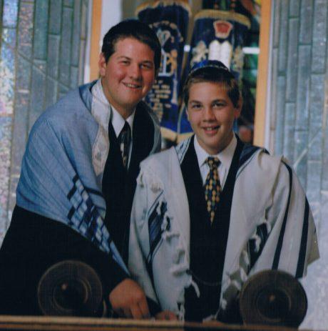 Geoff, left, and Mitch Schwartz at synagogue. (John Solano)