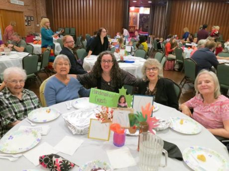 (L-R): Betty Light, Barbara Brokaw, Handmaker volunteer Lori Sumberg, Elaine McLain and Carol Zuckert (Courtesy Handmaker Jewish Services for the Aging)