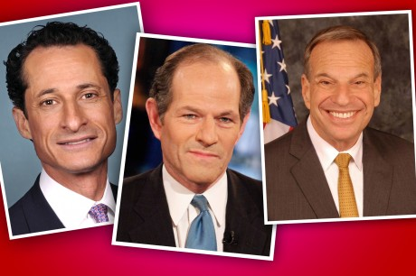 From left, Anthony Weiner, Eliot Spitzer and Bob Filner, three Jewish politicians seeking to move on after misdeeds. (U.S. Congress/Getty Images/City of San Diego)