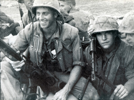 A U.S. Marine in Vietnam featuring a Magen David on his helmet, circa 1968 (Courtesy National Museum of American Jewish Military History)