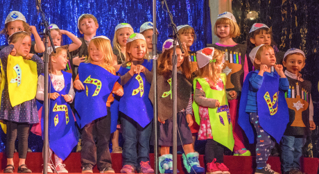 """The Strauss ECE Dancing Dreidels perform at Temple Emanu-El's """"Greatest Hanukkah on Earth! XVI"""" on Sunday, Dec. 14. About 550 people attended the event."""